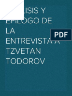 Análisis y epilogo de la entrevista a Tzvetan Todorov