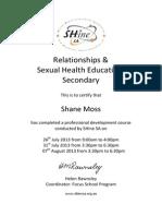 shine certificate