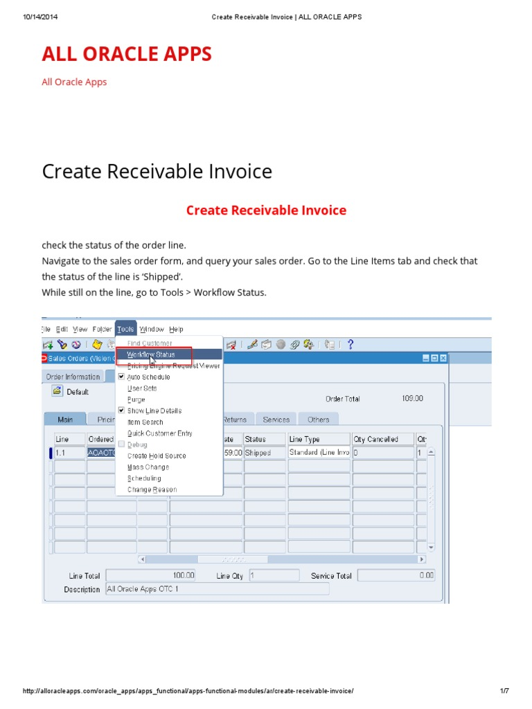Create Receivable Invoice _ ALL ORACLE APPS | Oracle Database | User
