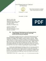 RRHA v B&B court letter 11.12.09