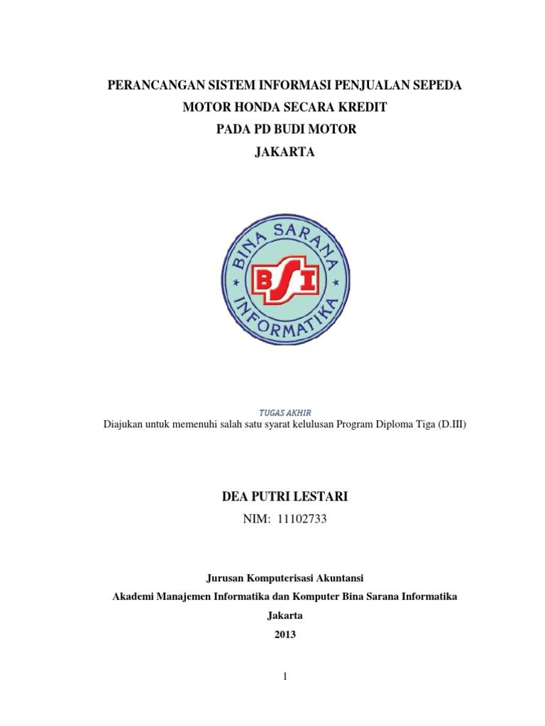 Perancangan sistem penjualan sepeda motor honda secara kredit ccuart Images