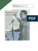 08 November 2013 Mercusuar.kerusakan Lingkungan Bupati Stop Obral IUP. BPK