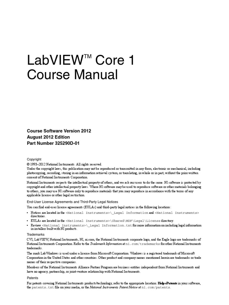 2012 labview core 1 course manual computer file object oriented rh scribd com Class Manual labview core 1 course manual pdf download