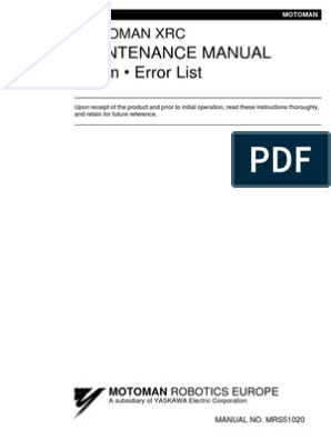 XRC - Maintenance Manual Alarm ERROR LIST pdf | Electrical