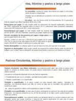 Pasivo Circulante, Nomina y Pasivo a Largo Plazo