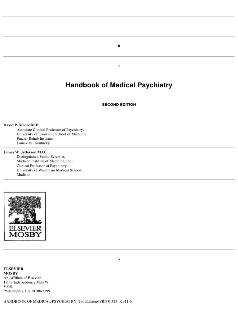 Mosbys Handbook Of Medical Psychiatry 2nd Edition 2004