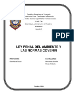 Ley Penal Del Ambiente y Las Normas Covenin