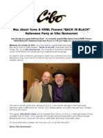 "Mac About Town & KRML Present ""BACK in BLACK"" Halloween Party at Cibo Restaurant"