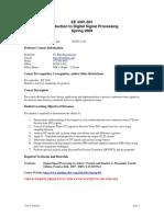 UT Dallas Syllabus for ee4361.501.09s taught by P Rajasekaran (pkr021000)