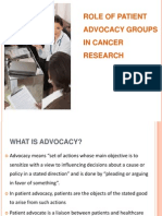Role of Patient Advocacy Groups in Cancer Research
