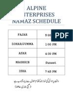 Alpine Enterprises Namaz Schedule
