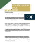 Análisis y Síntesis de Los Textos Científicos