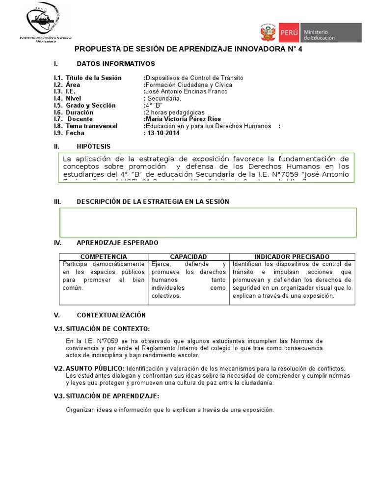 SESIÓN DE APRENDIZAJE INNOVADORA N°4 FCC 4° - copia.doc