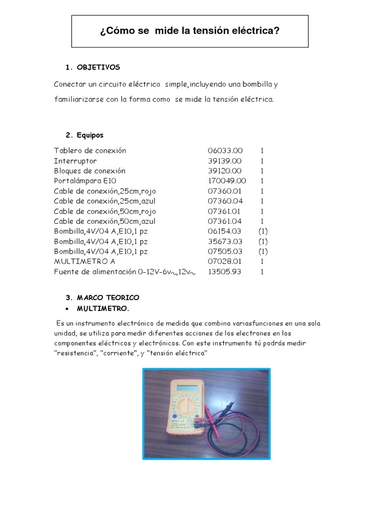Circuito Electrico Simple : Trabajo de circuito simple y tension electrica.docx