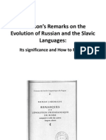 Jakobson's Remarks on the Evolution of Russian