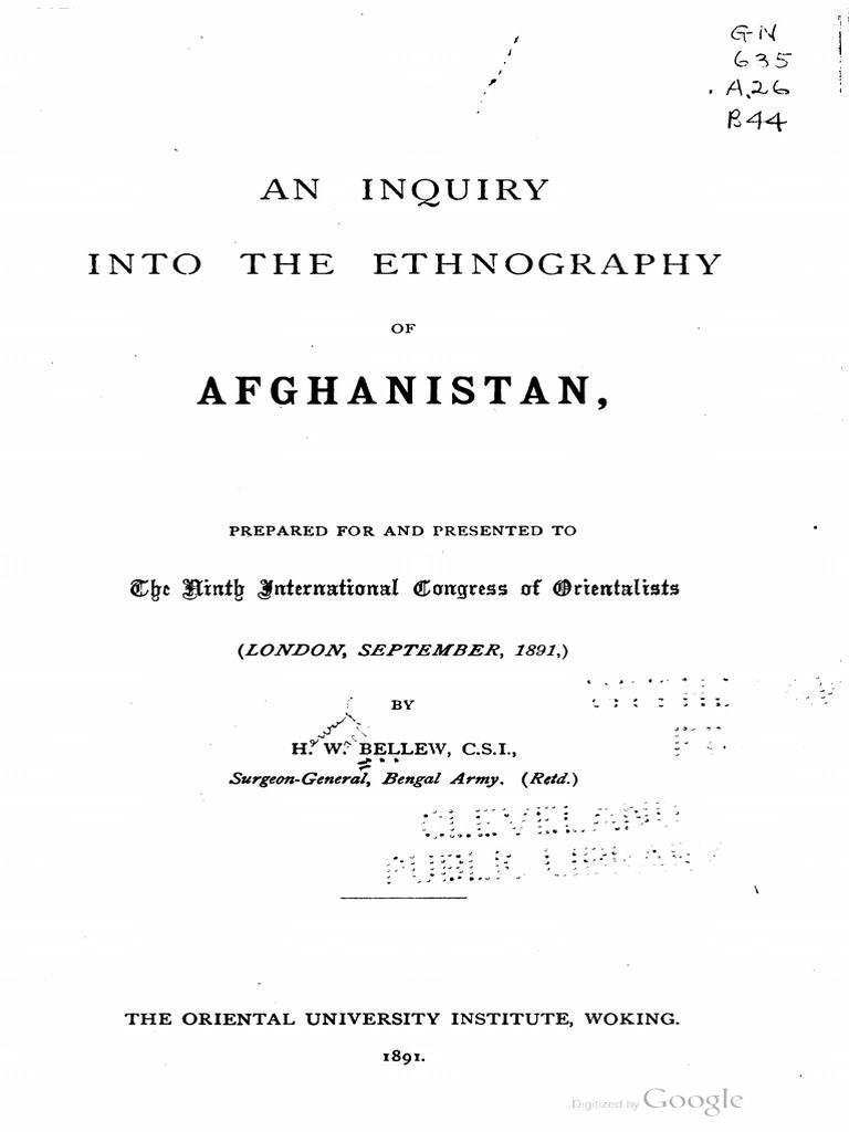 1891 An Inquiry Into The Ethnography Of Afghanistan By Bellew S Afghanistan