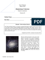 yr 10 science - mysterious universe assessment 2014