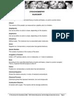 Chemistry Stoichiometry Glossary