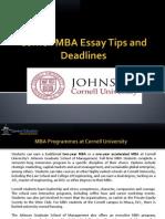 Cornell MBA Essays, Tips and Deadline 2014 - 2015