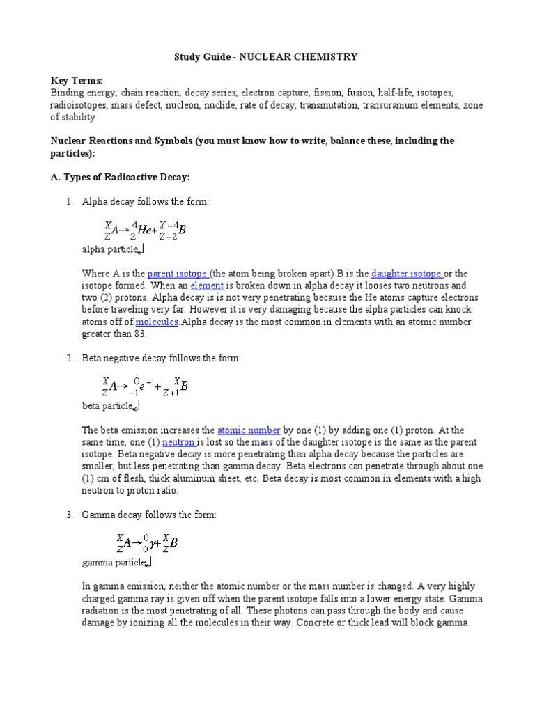 Study guide nuclear chemistry radioactive decay neutron biocorpaavc