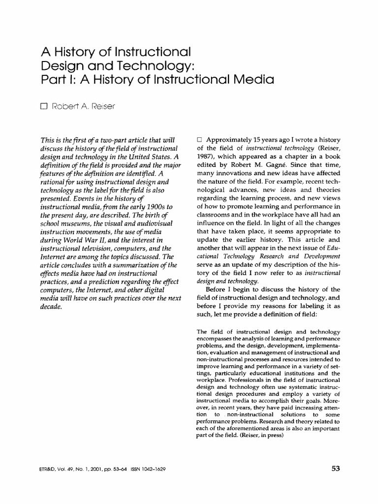 Reiser A History Of Instructional Design And Technology Part I