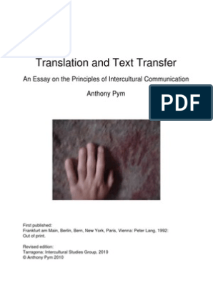 Translation And Text Transfer An Essay On The Principles Of