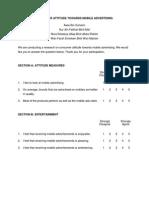 Attitude questionnaire towards attitude measuresMeasures