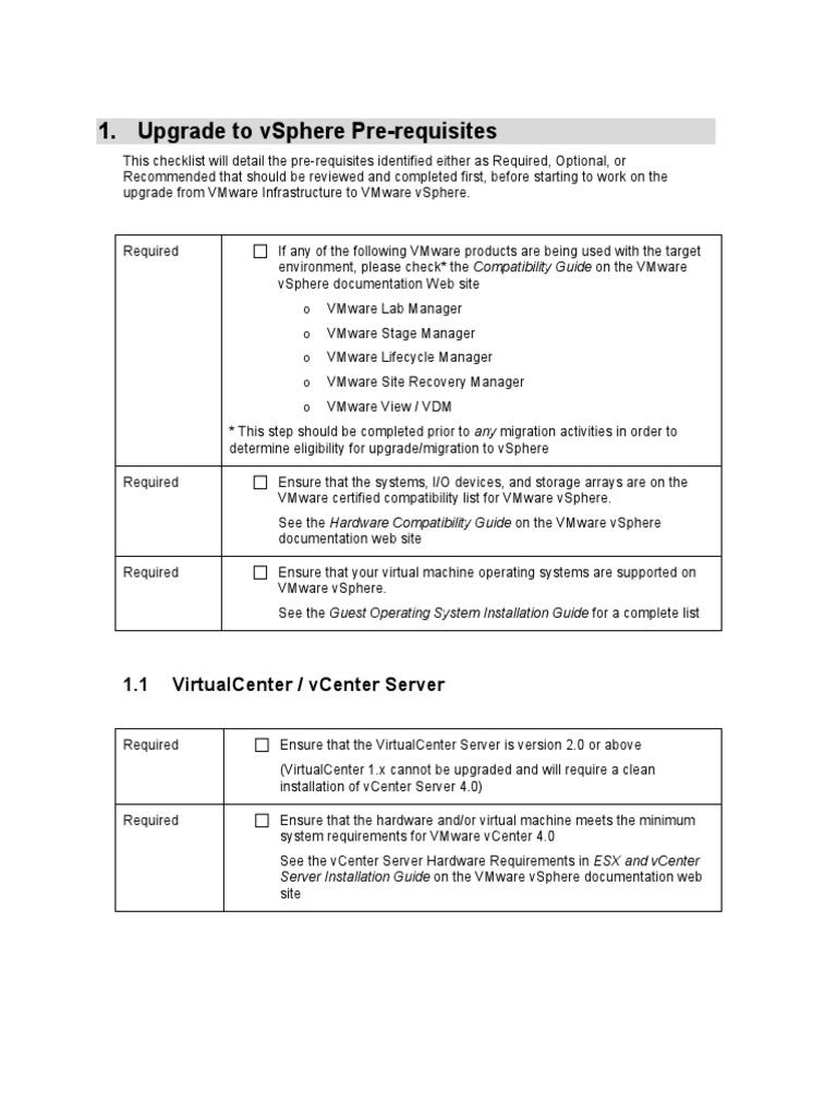 Vsphere Migration Prerequisites Checklist   V Mware