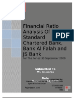 Financial Ratio Analysis of Standard Chartered Bank, JS Bank and Bank Alfalah in Pakistan for the Year Ended September 2009