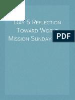 Day 5 Reflection Toward World Mission Sunday 2014