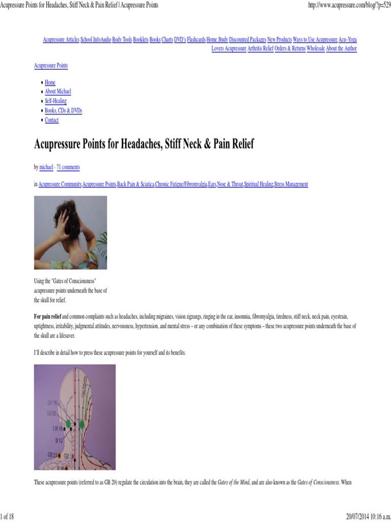 acupressure points for headaches stiff neck pain relief