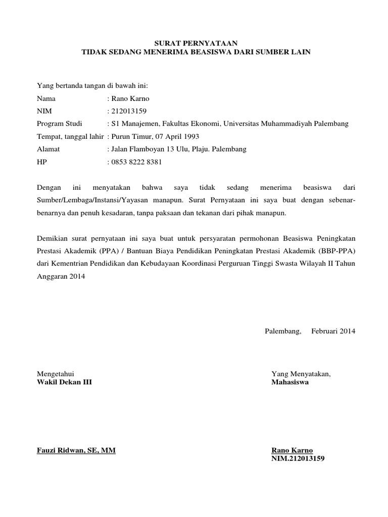 Contoh Surat Pernyataan Tidak Menerima Beasiswa Dari Pihak Lain 1