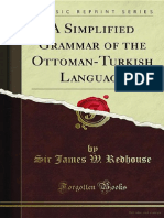 Sir James W. Redhouse a Simplified Grammar of the Ottoman-Turkish Language Classic Reprint 2010(1)