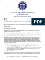 Ebola Public Health Preparedness Letter issued Oct. 15, 2014 by the City of Springfield, Mass.