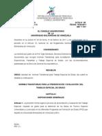 NORMAS TRANSITORIAS PARA LA PRESENTACIÓN Y EVALUACIÓN  DEL TRABAJO ESPECIAL DE GRADO.doc