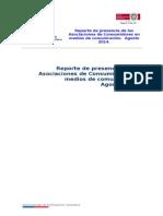 Presencia de Asociaciones de Consumidores en medios nacionales. Agosto 2014