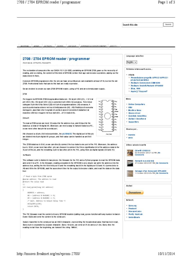 Eeprom 2708 - 2704 Reader _ Programmer Instructions | Integer