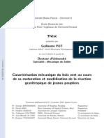 Caractérisation Mécanique Du Bois Vert Au Cours de Sa Maturation Et Modélisation de La Réaction Gravitropique de Jeunes Peupliers