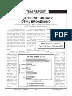 Trai Report Trai Report on Catv, Dth & Broadband