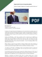 Le texte final de Copenhague inclut la taxe de transaction globale
