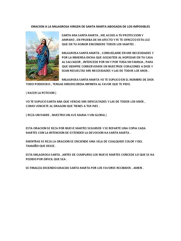 Oracion A La Milagrosa Virgen De Santa Marta Abogada De Los Imposibles Docx