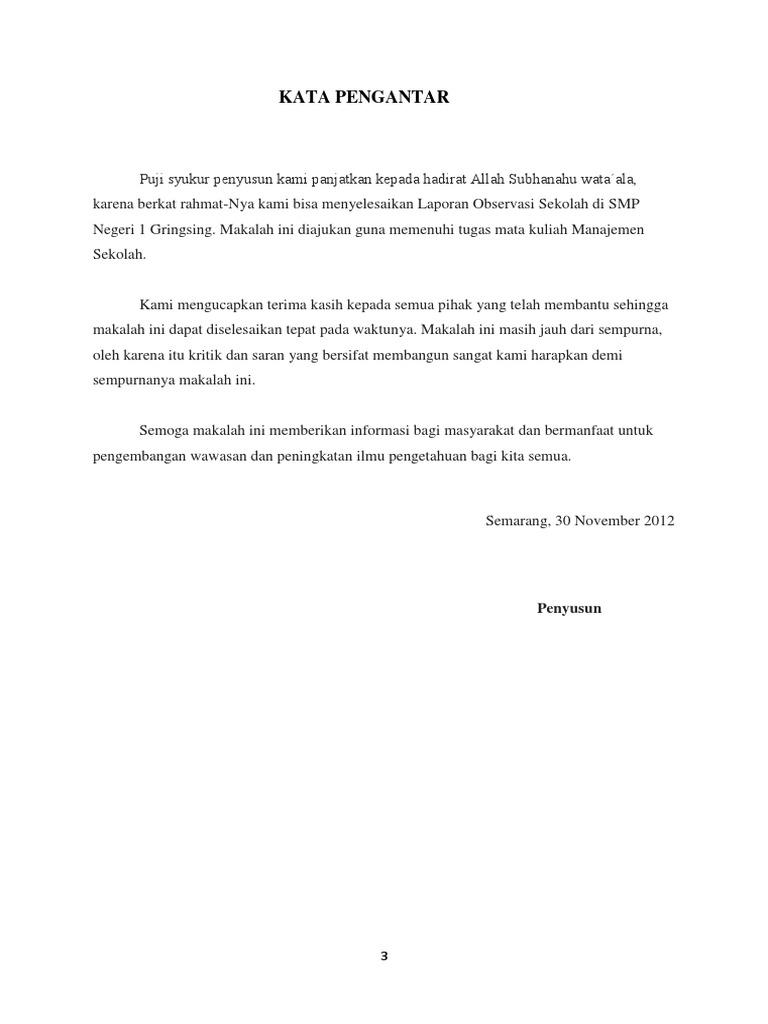 Contoh Laporan Observasi Sekolah Smp Guru Paud