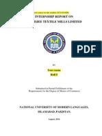 Internship Report on ZahidJee Textile Mills Limited 2014