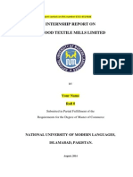 Internship Report  on MTM (Masood Textile Mills Limited ) 2014