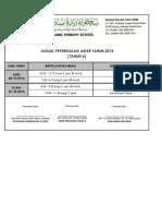 Jadual Peperiksaan Akhir Tahun 2014 (Tahun 6)
