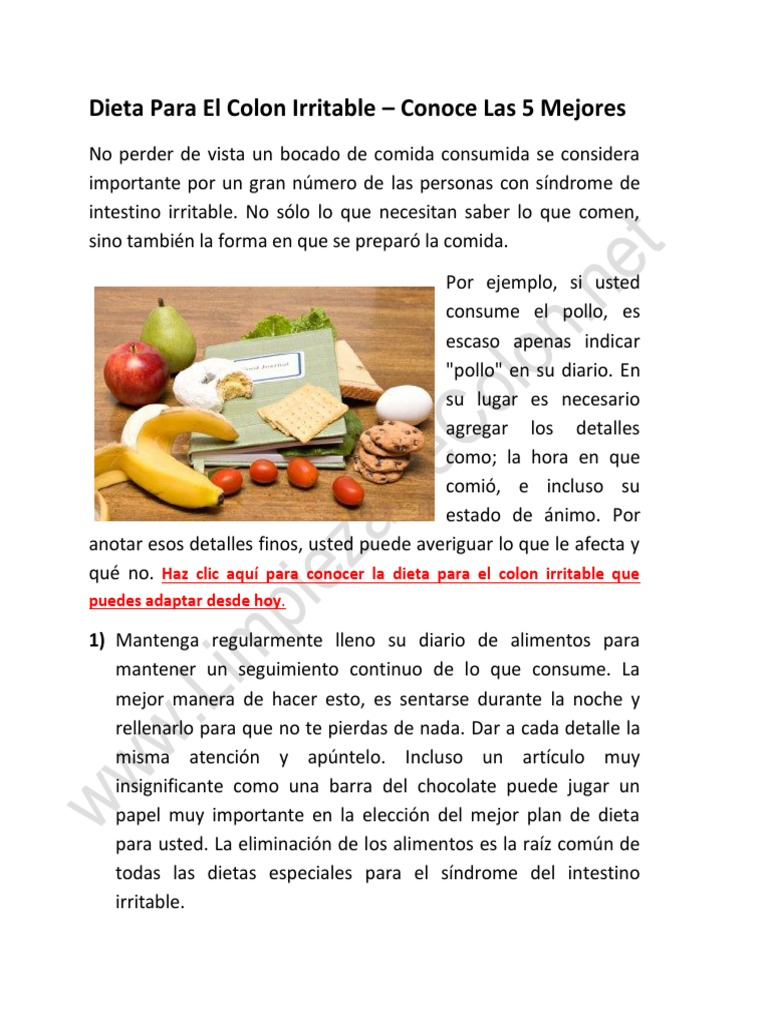 dieta saludable para personas con colon irritable