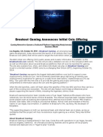 Breakout Gaming Announces Initial Coin Offering