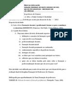 Atividade com o Livro Formação docente e profissional  2013.doc