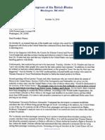 Culberson Ebola Travel Ban Letter