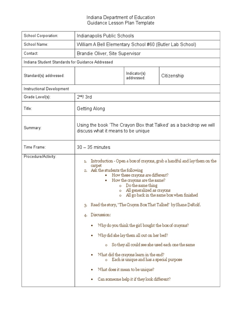 Lesson Plan For Crayon Box That Talked Communication Teaching